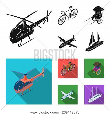 Bicycle, Rickshaw, Plane, Yacht.transport Set Collection Icons In Black, Flat Style Vector Symbol St