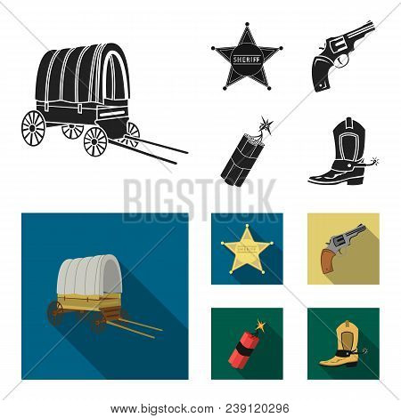 Star Sheriff, Colt, Dynamite, Cowboy Boot. Wild West Set Collection Icons In Black, Flat Style Vecto