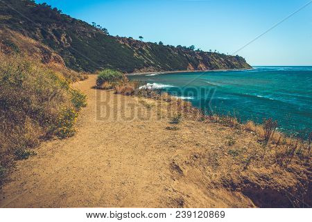 Winding Trail Along The Rugged Pacific Coast Cliffs In Palos Verdes Estates, California