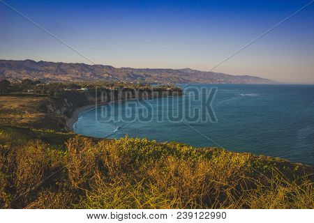Beautiful View Of Dume Cove And Malibu Coastline From Point Dume, Malibu, California