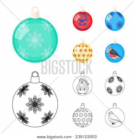 New Year Toys Cartoon, Outline Icons In Set Collection For Design.christmas Balls For A Treevector S