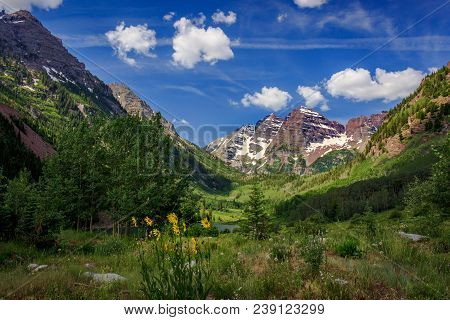Stunning Maroon Bells Peaks In Summer Near Aspen, Colorado