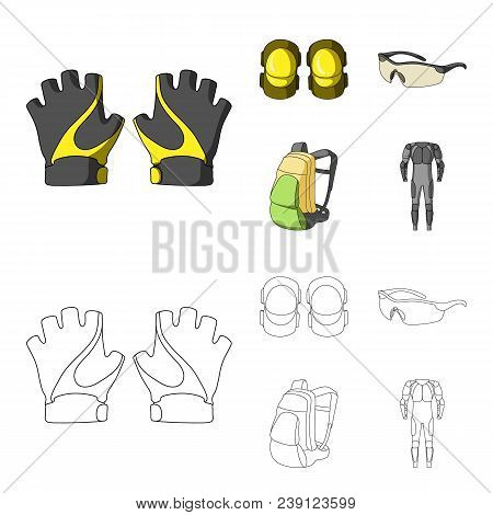 Gloves, Elbow Pads, Goggles, Cyclist Backpack.cyclist Outfit Set Collection Icons In Cartoon, Outlin
