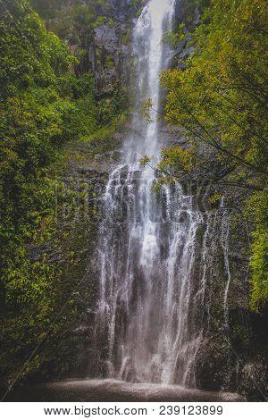 Tall Wailua Falls Along The Road To Hana, Maui, Hawaii