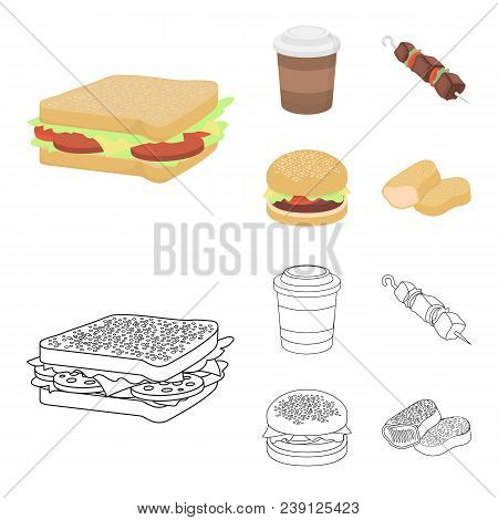 Sandwich, Coffee, Shish Kebab, Burger.fast Food Set Collection Icons In Cartoon, Outline Style Vecto