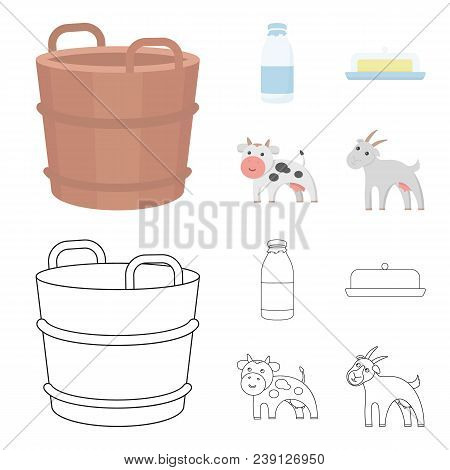 A Barrel Of Milk, Butter, A Cow. Milk Set Collection Icons In Cartoon, Outline Style Vector Symbol S