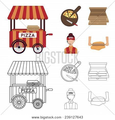 Mobile Trailer, Cutting Board For Pizza, Boxes, Salesman. Pizza And Pizzeria Set Collection Icons In