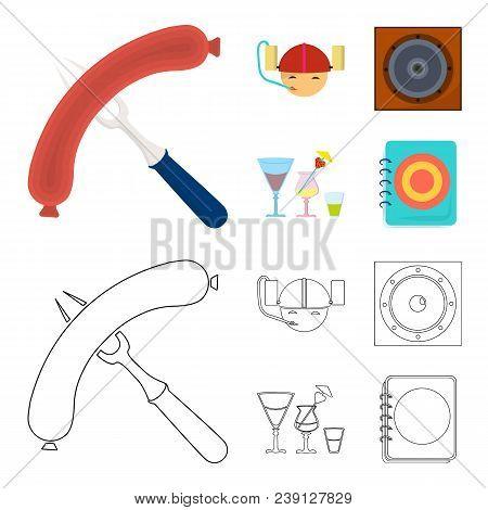 Fried Sausage, Beer Helmet, Cocktails, Speaker.pub Set Collection Icons In Cartoon, Outline Style Ve