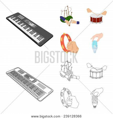 Synthesizer Melodies, Bagpipes Scotch And Other  Icon In Cartoon, Outline Style. Drum, Drum Roll, Ta