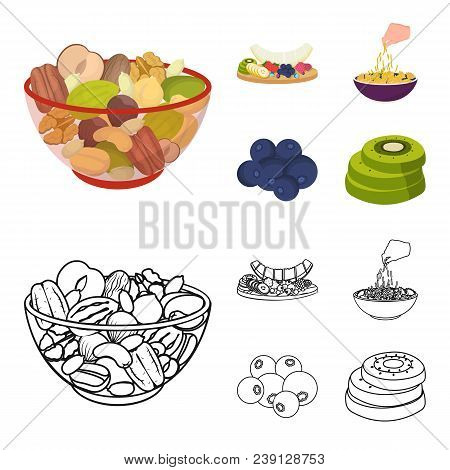 Assorted Nuts, Fruits And Other Food. Food Set Collection Icons In Cartoon, Outline Style Vector Sym