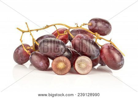 Red Globe Grape Cluster And One Berry Cut In Half Isolated On White Background Fresh Shiny Dark Pink