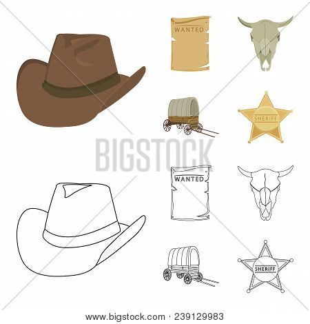 Cowboy Hat, Is Searched, Cart, Bull Skull. Wild West Set Collection Icons In Cartoon, Outline Style