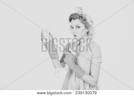 Gender Equality, Gender Inequality, Retro Woman Housewife Cleaning. Gender Equality, Gender Inequali