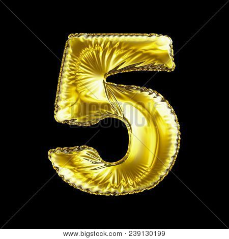 Number 5 five made of gold balloon isolated on a black background. 3d rendering