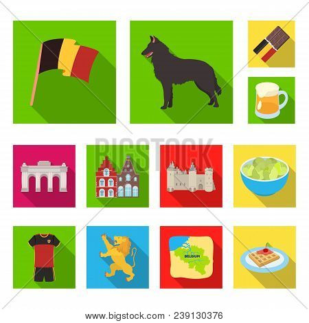 Country Belgium Flat Icons In Set Collection For Design.travel And Attractions Belgium Vector Symbol