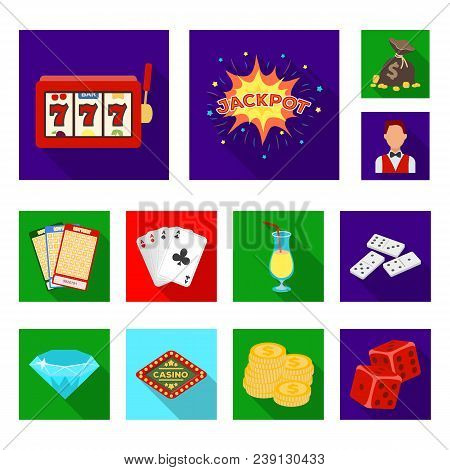 Casino And Gambling Flat Icons In Set Collection For Design. Casino And Equipment Vector Symbol Stoc