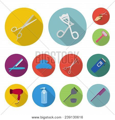 Hairdresser And Tools Flat Icons In Set Collection For Design.profession Hairdresser Vector Symbol S