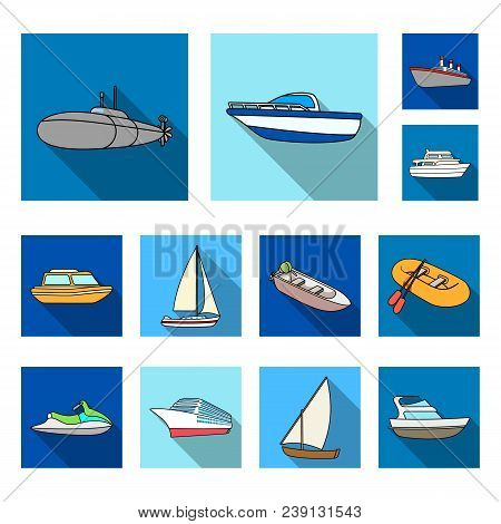 Water And Sea Transport Flat Icons In Set Collection For Design. A Variety Of Boats And Ships Vector