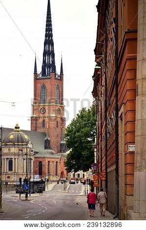 Stockholm, Sweden - July 2014: Riddarholmen Church, The Burial Church Of The Swedish Monarchs On The