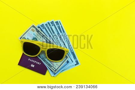 Portrait Of Objects: All You Need In Journey, Tour, Voyage Or Travel. Passport, Sunglasses, Money An