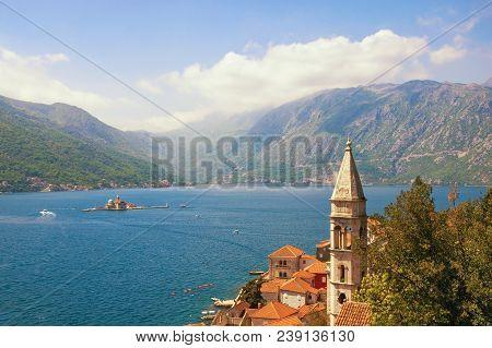 Beautiful Mediterranean Landscape. Montenegro, Bay Of Kotor. View Of Ancient Town Of Perast, Belltow