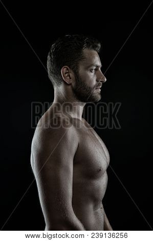 Sportsman With Sexy Chest And Belly. Bearded Man Athlete With Fit Torso In Profile. Bodybuilder Show