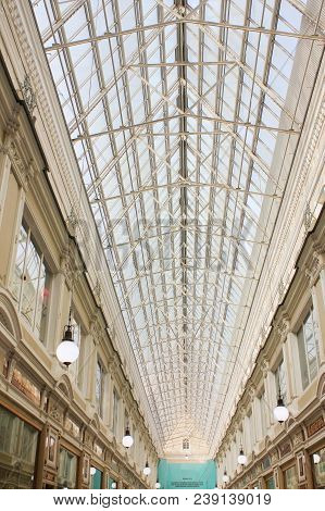 St. Petersburg, Russia - April 7, 2018: Passage Shopping Arcade Gallery Interior With Glass Dome. Pa