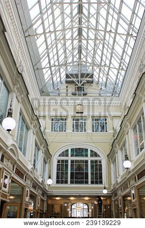 St. Petersburg, Russia - April 7, 2018: Passage Shopping Arcade Gallery Interior. Passage Gallery Is