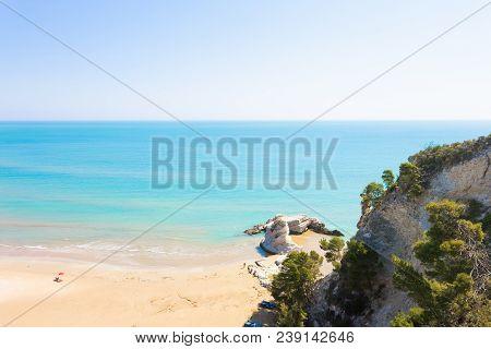 Vieste, Apulia, Italy - Above The Cliffs At The Coastline Of Vieste