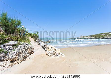 Lido Cala Lunga, Apulia, Italy - Hiking Trail Leading To The Beach Of Cala Lunga