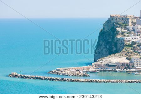 Pescichi, Apulia, Italy - Old Castle Of Pescichi On A Rock Spur