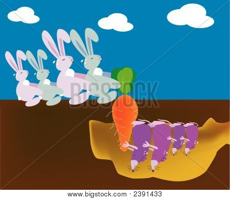 a vector illustration for a rabbit's family try to pull out a carrot but at the same time shrewmouse family also want to pull out the carrot on the other side. Metaphors for struggle invisible enemy and trouble poster