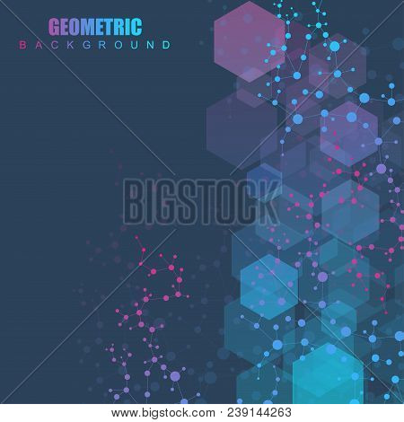Modern Futuristic Background Of The Scientific Hexagonal Pattern. Virtual Abstract Background With P