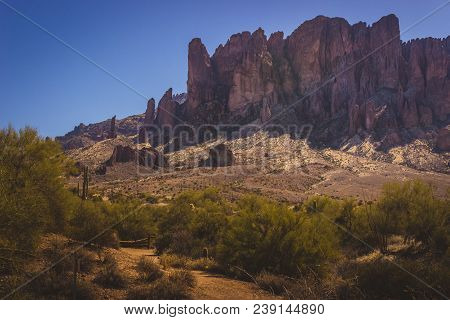 Scenic View Of Superstition Mountains In Lost Dutchman State Park, Arizona From Treasure Loop Trail