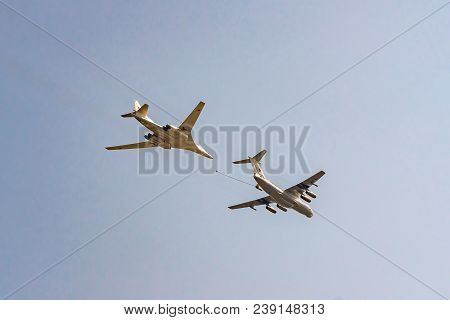 Moscow, Russia - May 04, 2018: Russian Strategic Bomber Tupolev Tu-160 And Il - 78 During Victory Da