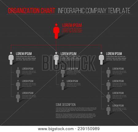 Minimalist Company Organization Hierarchy 3d Chart Template - Dark Gray Version