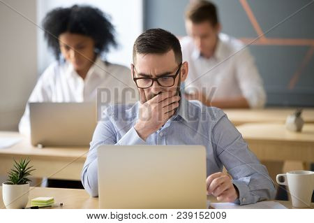 Focused Serious Businessman Thinking Of Online Task Concerned About Solving Business Problem Working
