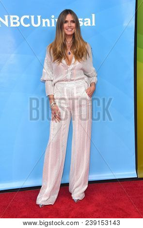 LOS ANGELES - MAY 02:  Heidi Klum arrives for the NBCUniversal Summer Press Day 2018 on May 2, 2018 in Universal City, CA