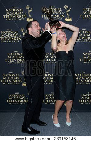 PASADENA - APR 27: ErIc Jackson, Emily Pinto at the 45th Daytime Creative Arts Emmy Awards Gala at the Pasadena Civic Center on April 27, 2018 in Pasadena, California