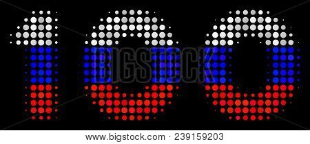 Halftone 100 Text Pictogram Colored In Russia State Flag Colors On A Dark Background. Vector Composi