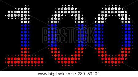 Halftone 100 Text Pictogram Colored In Russia Official Flag Colors On A Dark Background. Vector Coll