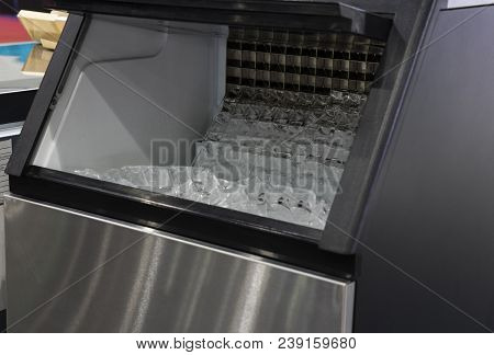 Cube Ice In Ice Making Machine ; Close Up