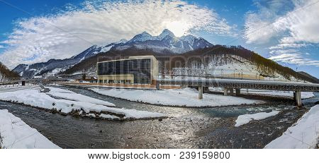 Red Glade, Sochi, Russia - January 3, 2017: Mountain Panorama.