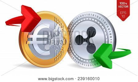 Ripple To Euro Currency Exchange. Ripple. Euro Coin. Cryptocurrency. Golden And Silver Coins With Ri