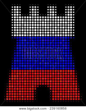 Halftone Bulwark Tower Pictogram Colored In Russian State Flag Colors On A Dark Background. Vector P