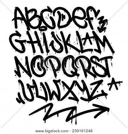 Set Street Type Calligraphy Design Alphabet Graffiti Style Tag Letters Write Marker Brush Ink Or Aer