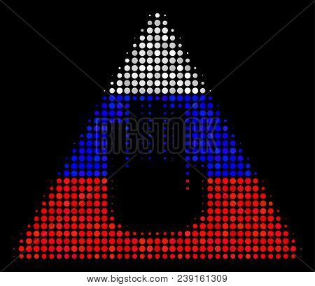 Halftone Caution Icon Colored In Russia Official Flag Colors On A Dark Background. Vector Concept Of