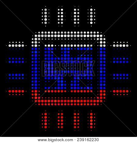 Halftone Cpu Circuit Icon Colored In Russian State Flag Colors On A Dark Background. Vector Concept
