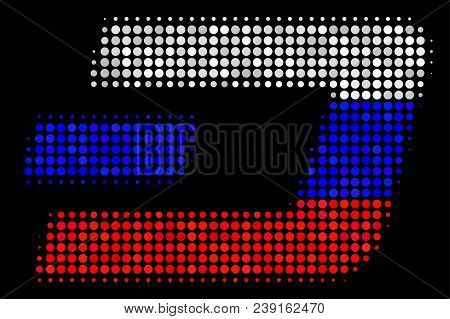 Halftone Dash Currency Icon Colored In Russia State Flag Colors On A Dark Background. Vector Pattern