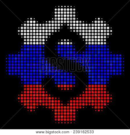 Halftone Development Cost Icon Colored In Russia State Flag Colors On A Dark Background. Vector Conc